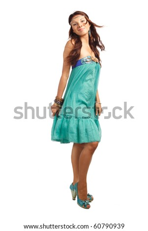 Beutiful woman dancing or moving in blue dress. More images of this models you can in my portfolio - stock photo