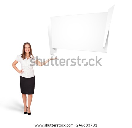 Beutiful young woman presenting abstract origami copy space isolated on white - stock photo
