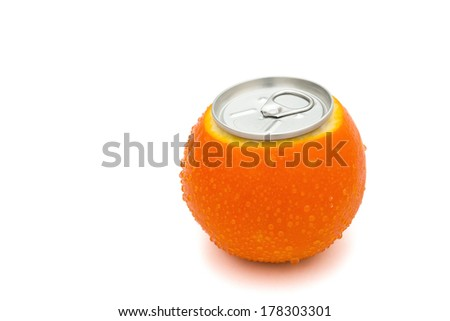 beverage can's top on a fresh orange with clipping path