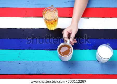 beverage for all lifestye with colorful background - stock photo