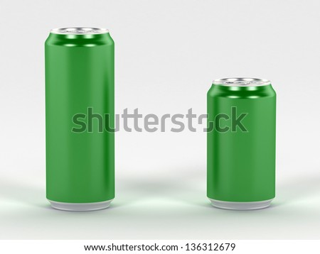 Beverage green cans 3d render, ideal for soda, cola, beer, energy drink - stock photo