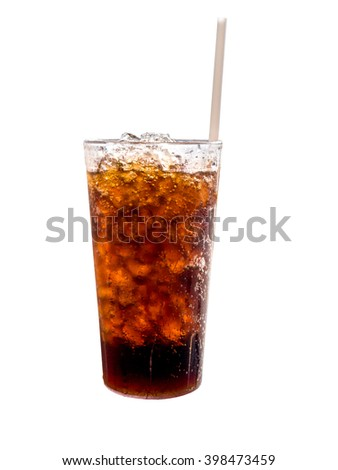 Beverage in glass on white background