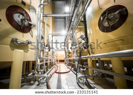beverage manufacture, containers, poor light - stock photo