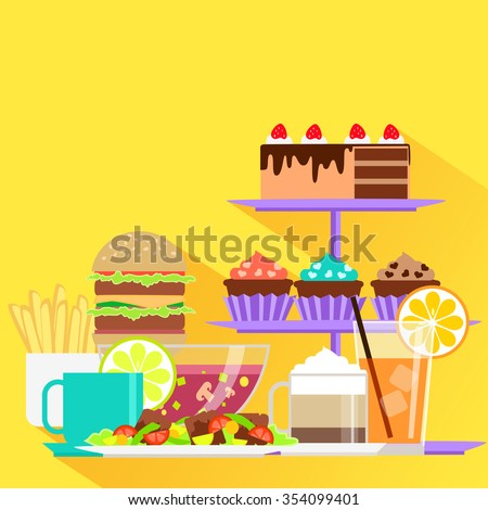 Beverages and food design flat. Drink and menu, glass and cup, coffee and dessert, lunch eat, cake and cream, tea and hamburger, burger fastfood illustration. Raster version