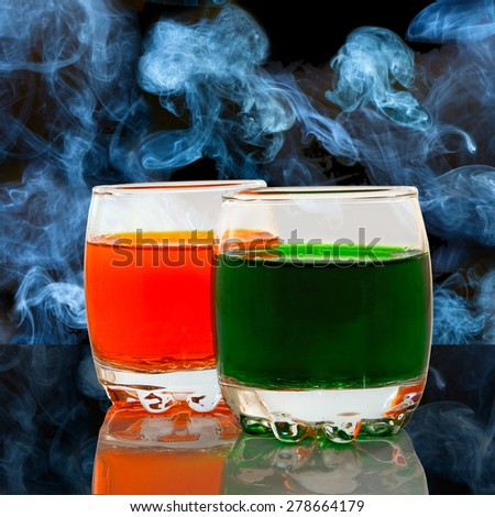 beverages in the smoke background - stock photo