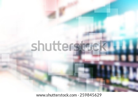 Beverages Store Blurred Background - stock photo