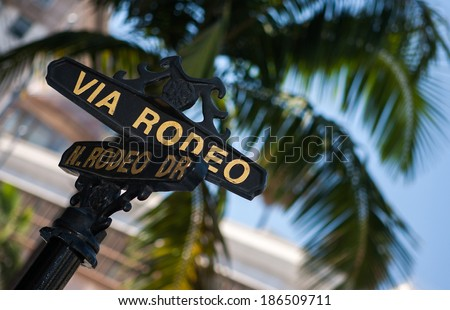 BEVERLY HILLS, CA - AUG 21, 2008: Road sign in Beverly Hills, Ca. Beverly Hills is world-famous for its luxurious culture and famous residents  - stock photo