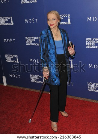 BEVERLY HILLS, CA - AUGUST 14, 2014: Actress Anne Jeffreys at the Hollywood Foreign Press Association's annual Grants Banquet at the Beverly Hilton Hotel.  - stock photo