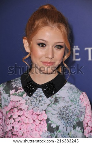 BEVERLY HILLS, CA - AUGUST 14, 2014: Actress Katherine McNamara at the Hollywood Foreign Press Association's annual Grants Banquet at the Beverly Hilton Hotel.  - stock photo