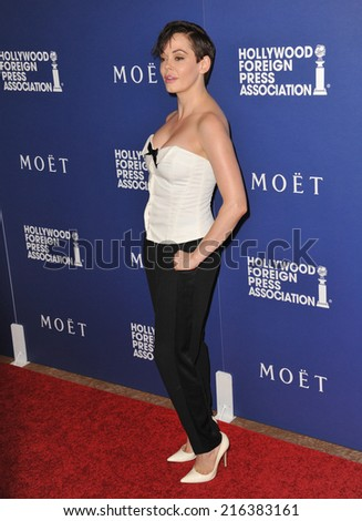 BEVERLY HILLS, CA - AUGUST 14, 2014: Actress Rose McGowan at the Hollywood Foreign Press Association's annual Grants Banquet at the Beverly Hilton Hotel.  - stock photo
