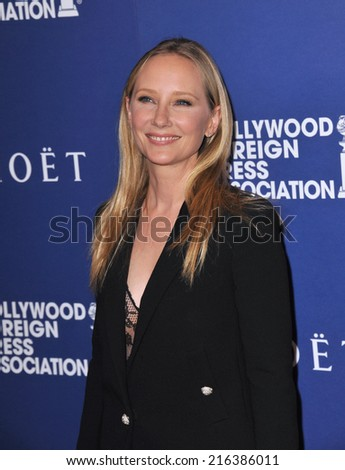 BEVERLY HILLS, CA - AUGUST 14, 2014: Anne Heche at the Hollywood Foreign Press Association's annual Grants Banquet at the Beverly Hilton Hotel.  - stock photo