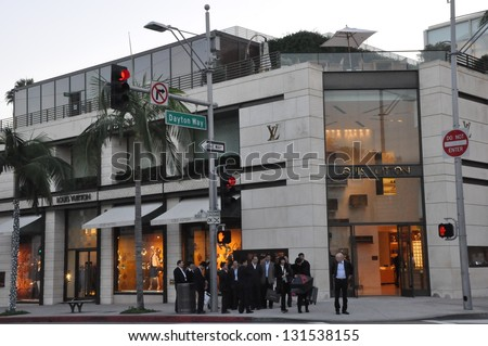 BEVERLY HILLS, CA - DEC 7: Louis Vuitton store at Rodeo Drive in Beverly Hills on December 7, 2012. Rodeo Drive is an affluent shopping district known for designer label and haute couture fashion. - stock photo
