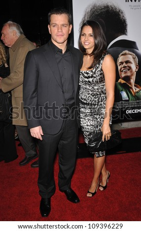 "BEVERLY HILLS, CA - DECEMBER 3, 2009: Matt Damon & wife Luciana Barroso at the Los Angeles premiere of his new movie ""Invictus"" at the Academy of Motion Picture Arts & Sciences Theatre. - stock photo"