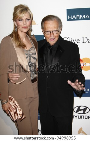 BEVERLY HILLS, CA - FEB 11: Larry King; wife Shawn at the Clive Davis and the Recording Academy's 2012 Pre-GRAMMY Gala on February 11, 2012 in Beverly Hills, California - stock photo