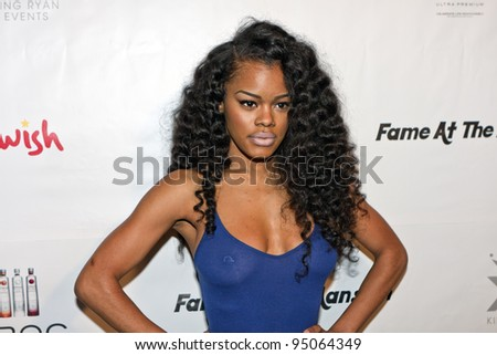 BEVERLY HILLS, CA - FEBRUARY 12: Teyana Taylor attends the Grammy after party at the Playboy Mansion on February 12, 2012 in Beverly Hills, California. (Photo by Jonathan S. Nowak) - stock photo