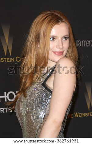 BEVERLY HILLS, CA - JAN. 10: Bella Thorne arrives at the Weinstein Company and Netflix 2016 Golden Globes After Party on Sunday, January 10, 2016 at the Beverly Hilton Hotel in Beverly Hills, CA.  - stock photo