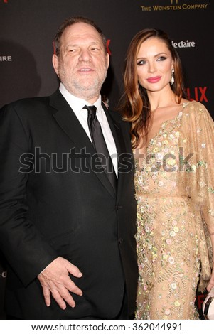 BEVERLY HILLS, CA - JAN. 10: Harvey Weinstein & Georgina Chapman arrive at the Weinstein Company/Netflix 2016 Golden Globes After Party, Jan. 10, 2016 at the Beverly Hilton Hotel, Beverly Hills, CA.  - stock photo