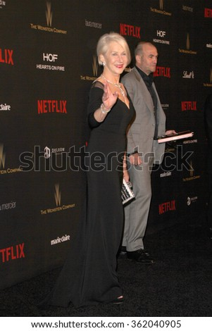 BEVERLY HILLS, CA - JAN. 10: Helen Mirren arrives at the Weinstein Company and Netflix 2016 Golden Globes After Party on Sunday, January 10, 2016 at the Beverly Hilton Hotel in Beverly Hills, CA.  - stock photo