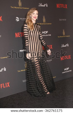 BEVERLY HILLS, CA - JAN. 10: Jamie King arrives at the Weinstein Company and Netflix 2016 Golden Globes After Party on Sunday, January 10, 2016 at the Beverly Hilton Hotel in Beverly Hills, CA.  - stock photo