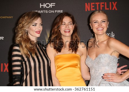 BEVERLY HILLS, CA - JAN. 10: Jamie King, Michelle Monaghan & Malin Akerman arrive at the Weinstein Company 2016 Golden Globes After Party, Jan.10, 2016 at the Beverly Hilton Hotel, Beverly Hills, CA.  - stock photo