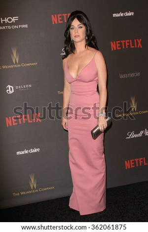 BEVERLY HILLS, CA - JAN. 10: Katy Perry arrives at the Weinstein Company and Netflix 2016 Golden Globes After Party on Sunday, January 10, 2016 at the Beverly Hilton Hotel in Beverly Hills, CA.  - stock photo