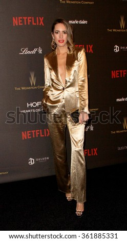 BEVERLY HILLS, CA - JAN. 10: Louise Roe arrives at the Weinstein Company and Netflix 2016 Golden Globes After Party on Sunday, January 10, 2016 at the Beverly Hilton Hotel in Beverly Hills, CA.  - stock photo