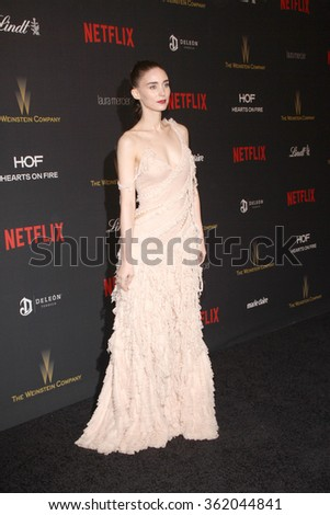BEVERLY HILLS, CA - JAN. 10: Rooney Mara arrives at the Weinstein Company and Netflix 2016 Golden Globes After Party on Sunday, January 10, 2016 at the Beverly Hilton Hotel in Beverly Hills, CA.  - stock photo
