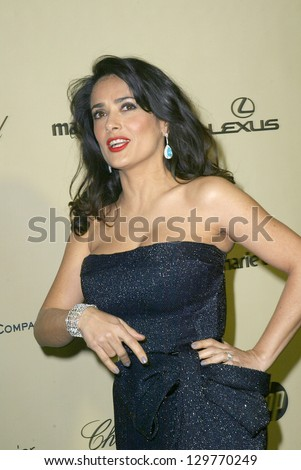 BEVERLY HILLS, CA - JAN. 13: Salma Hayek arrives at the Weinstein Company's 2013 Golden Globes After Party on Sunday, January 13, 2013 at the Beverly Hilton Hotel in Beverly Hills, CA.