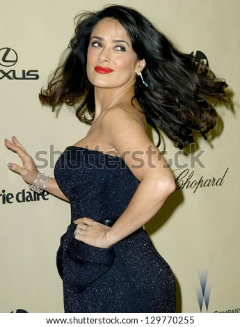 BEVERLY HILLS, CA - JAN. 13: Salma Hayek arrives at the Weinstein Company's 2013 Golden Globes After Party on Sunday, January 13, 2013 at the Beverly Hilton Hotel in Beverly Hills, CA. - stock photo