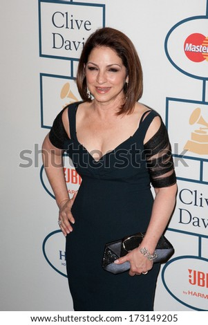 BEVERLY HILLS, CA. - JANUARY 25: Gloria Estefan arrives at the Clive Davis and The Recording Academy annual Pre-GRAMMY Gala on January 25th 2014 at the Beverly Hilton in Beverly Hills, California. - stock photo