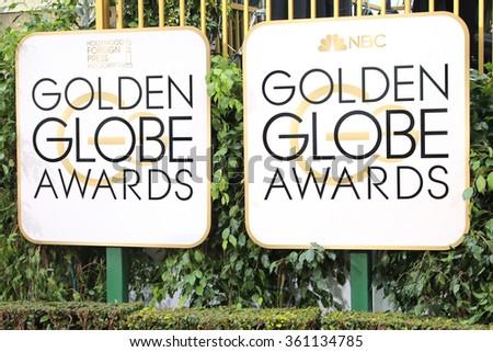 BEVERLY HILLS, CA - JANUARY 10: Golden Globes Awards sign at the 73rd Annual Golden Globe Awards at the Beverly Hilton Hotel on January 10, 2016 in Beverly Hills, California - stock photo