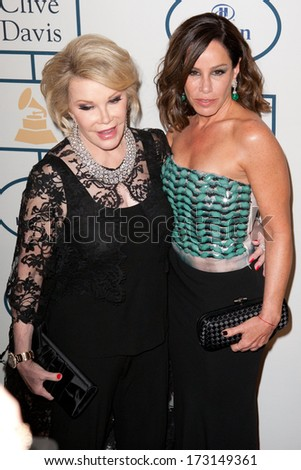 BEVERLY HILLS, CA. - JANUARY 25: Joan & Melissa Rivers arrives at the Clive Davis & The Recording Academy annual Pre-GRAMMY Gala on January 25th 2014 at the Beverly Hilton in Beverly Hills. - stock photo