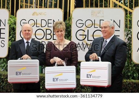 BEVERLY HILLS, CA - JANUARY 10: Representatives of Ernst & Young with winning results at the 73rd Annual Golden Globe Awards at the Beverly Hilton Hotel on January 10, 2016 in Beverly Hills, CA  - stock photo