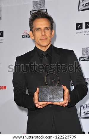 BEVERLY HILLS, CA - NOVEMBER 15, 2012: Ben Stiller at the 26th Annual American Cinematheque Awards Ceremony honoring him at the Beverly Hilton Hotel. - stock photo