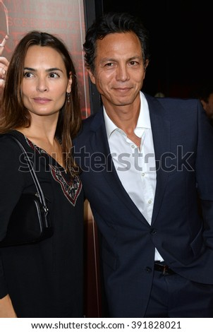 "BEVERLY HILLS, CA - OCTOBER 27, 2015: Benjamin Bratt & wife Talisa Soto at the US premiere of ""Trumbo"" at the Academy of Motion Picture Arts & Sciences - stock photo"