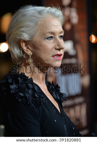 """BEVERLY HILLS, CA - OCTOBER 27, 2015: Dame Helen Mirren at the US premiere of her movie """"Trumbo"""" at the Academy of Motion Picture Arts & Sciences - stock photo"""