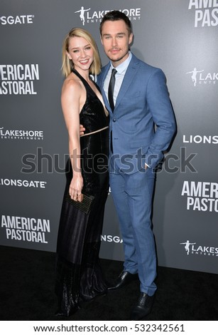 "BEVERLY HILLS, CA. October 13, 2016: Valorie Curry & Sam Underwood at the Los Angeles premiere of ""American Pastoral"" at The Academy's Samuel Goldwyn Theatre."