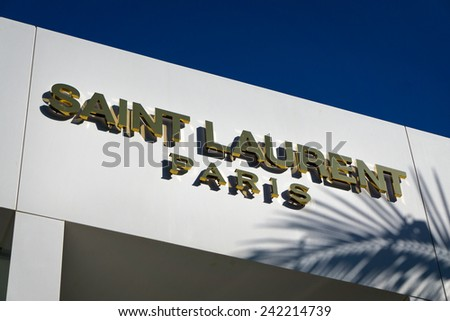 BEVERLY HILLS, CA/USA - JANUARY 3, 2015: Saint Laurent Paris retail store exterior. Yves Saint Laurent is a luxury fashion house. - stock photo