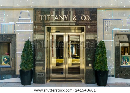 BEVERLY HILLS, CA/USA - JANUARY 3, 2015: Tiffany & Company store exterior. Tiffany's is an American multinational luxury jewelry and specialty retailer. - stock photo