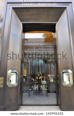 BEVERLY HILLS, CALIFORNIA - DECEMBER 7: Harry Winston store at Rodeo Drive as seen on December 7, 2012 in Beverly Hills, California. There are more than 100 world-renowned boutiques in this area. - stock photo