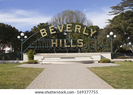 BEVERLY HILLS, CALIFORNIA - January 5, 2011:  Famous Beverly Hills Garden Park sign on Santa Monica Blvd in Southern California. - stock photo