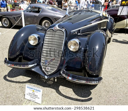 BEVERLY HILLS, CALIFORNIA - JUNE 21, 2015: 1938 Alpha Romeo 8C 2900B Spyder by Touring on display at the Rodeo Drive Concours D' Elegance on June 21, 2015 Beverly Hills, California, USA - stock photo
