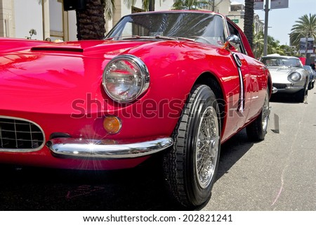 BEVERLY HILLS, CALIFORNIA - JUNE 15, 2014: 1963 Apollo 3500 GT owned by Dennis Boses at the Rodeo Drive Concours D'Elegance on June 15, 2014 Beverly Hills, California, USA
