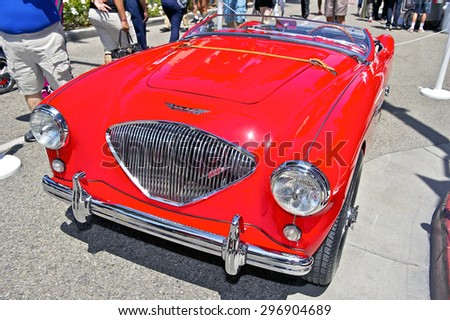 BEVERLY HILLS, CALIFORNIA - JUNE 21, 2015: 1955 Austin-Healy 100M BN2 Lemans on display at the Rodeo Drive Concours D'Elegance on June 21, 2015 Beverly Hills, California, USA - stock photo