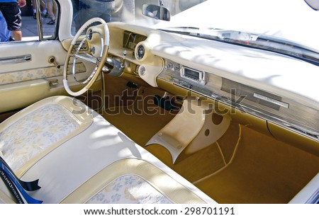 "BEVERLY HILLS, CALIFORNIA - JUNE 21, 2015: 1959 Cadillac Coupe De Ville (interior) ""Elvis III"" on display at the Rodeo Drive Concours D' Elegance on June 21, 2015 Beverly Hills, California, USA - stock photo"