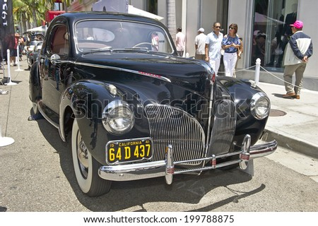 BEVERLY HILLS, CALIFORNIA - JUNE 15, 2014: 1941 Lincoln, Zephyr Coupe owned by Jack Jones at the Rodeo Drive Concours D'Elegance on  June 15, 2014 Beverly Hills, California, USA - stock photo