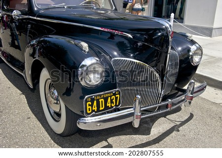 BEVERLY HILLS/CALIFORNIA - JUNE 15, 2014: 1941 Lincoln Zephyr Coupe owned by Jack Jones at the Rodeo Drive Concours D'Elegance June 15, 2014 Beverly Hills, California USA  - stock photo