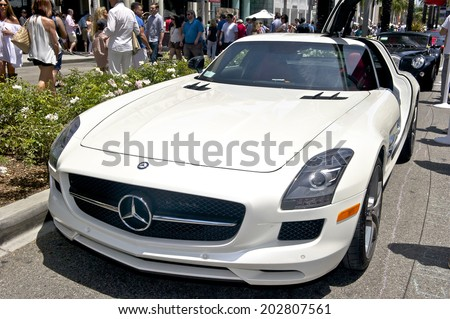 BEVERLY HILLS/CALIFORNIA - JUNE 15, 2014: Mercedes-Benz SLS GT AMG  at the Rodeo Drive Concours D'Elegance June 15, 2014 Beverly Hills, California USA  - stock photo