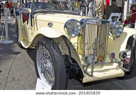 BEVERLY HILLS, CALIFORNIA - JUNE 15, 2014: 1949 MG TC owned by Mel and Toni Appell at the Rodeo Drive Concours D'Elegance on June 15, 2014 Beverly Hills, California, USA