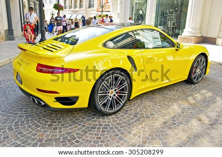 BEVERLY HILLS, CALIFORNIA - JUNE 21, 2015: 2015 Porsche 911 Turbo on display at the Rodeo Drive Concours D'Elegance on June 21, 2015 Beverly Hills, California, USA - stock photo